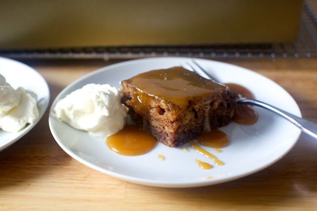 Sticky toffee pudding - date cake with toffee sauce by Smitten Kitchen