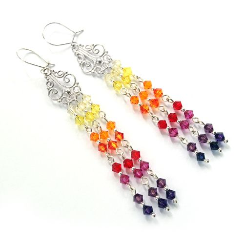 Rainbow earrings made of Swarovski sparkling crystals  - from light yellow to purple.