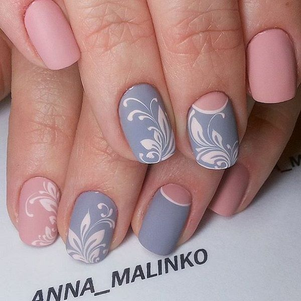 Decorate your nails for the summer with pretty pastel colors. You can use any color that you like and add a bit more decoration with floral patterns in white nail polish. You can also leave the other nails with matte colors to distinguish them from those with the designs.