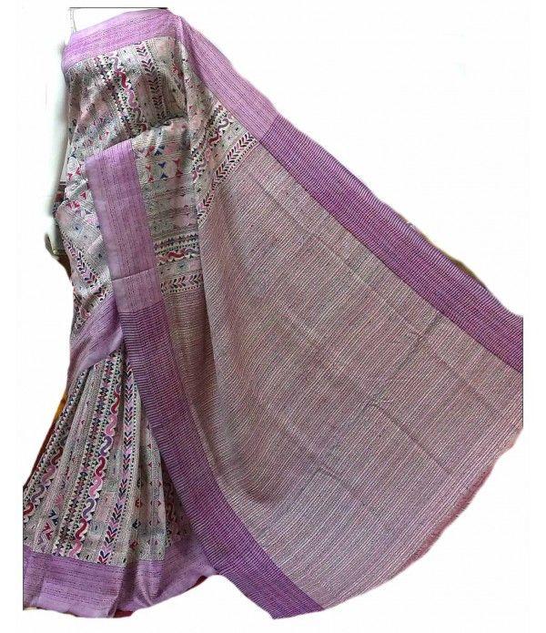 Pink Silk Saree-Nakshi Kantha Work