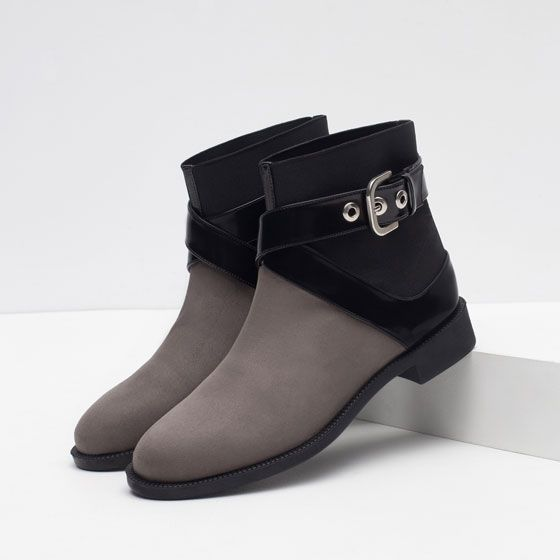 Image 4 of FLAT ANKLE BOOTS WITH BUCKLE from Zara