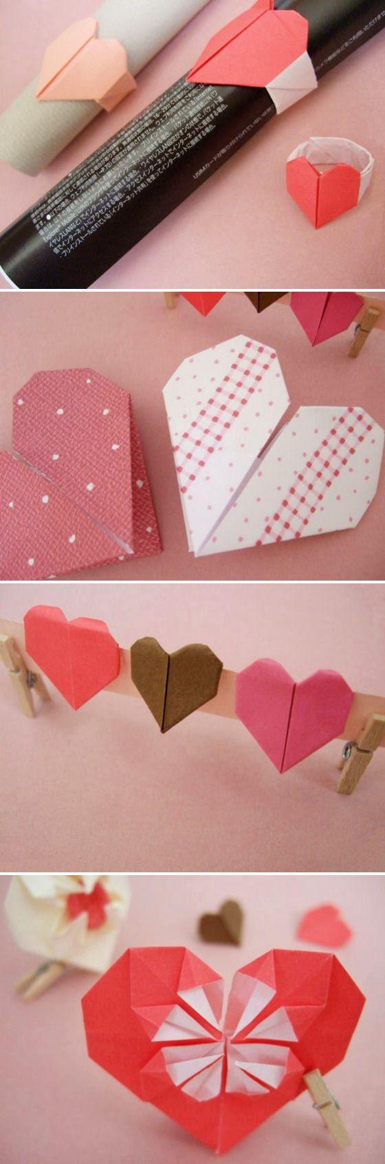 DIY: origami hearts.