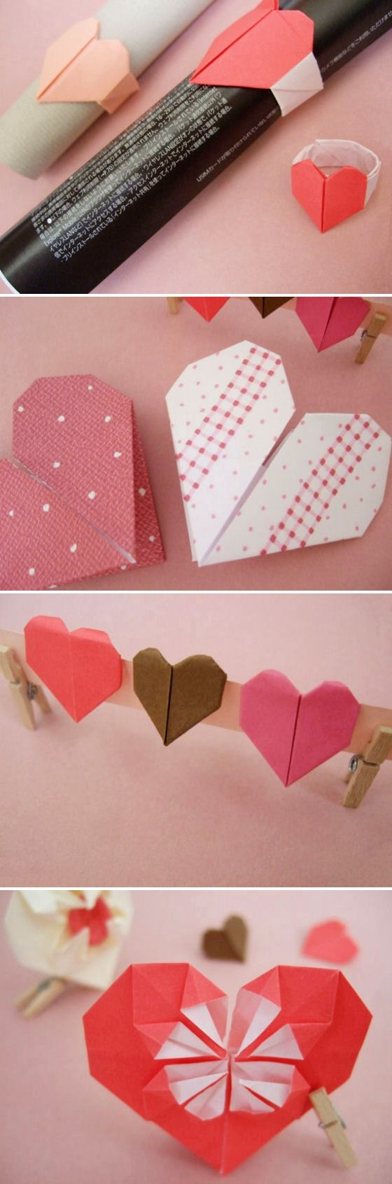 DIY: origami hearts, show your heart to your lover