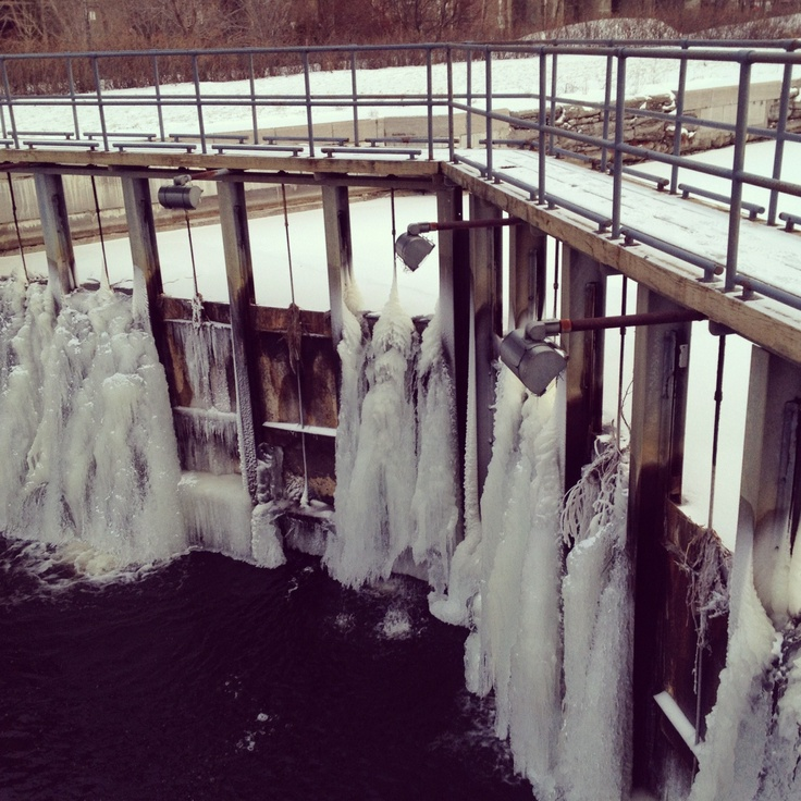 frozen canal lock in Montreal