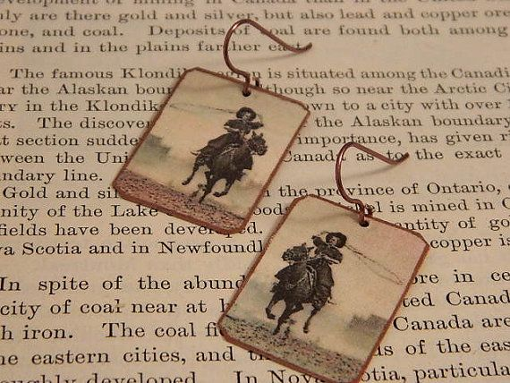 Cowgirl earrings Western jewelry Lucille Mulhall Mixed media