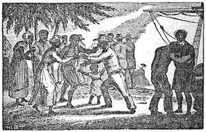 Freetown - Liberated African slaves landing in Freetown