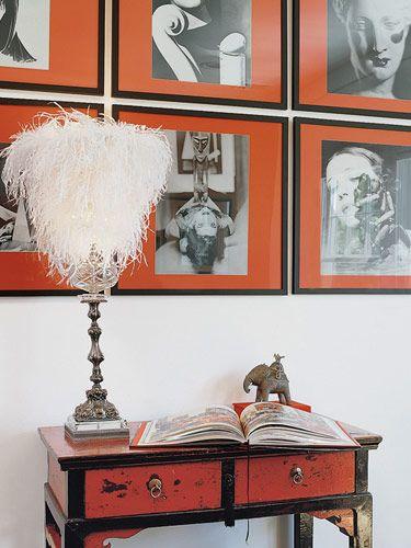 Feathery lampshade by ABYU Lighting on antique base. - Veranda.com