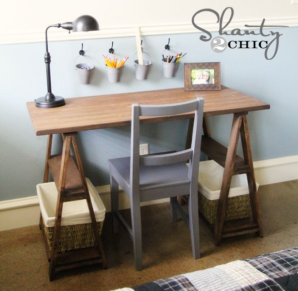 Great desk. It only cost $50 to make versus its $600 Restoration Hardware Inspiration!  From: Shanty2Chic Blog, DIY Trestle Desk -- http://www.shanty-2-chic.com/2012/07/restoration-hardware-diy-desk.html?utm_source=feedburner_medium=feed_campaign=Feed%3A+shanty-2-chic%2FWwSe+%28Shanty2Chic%29#