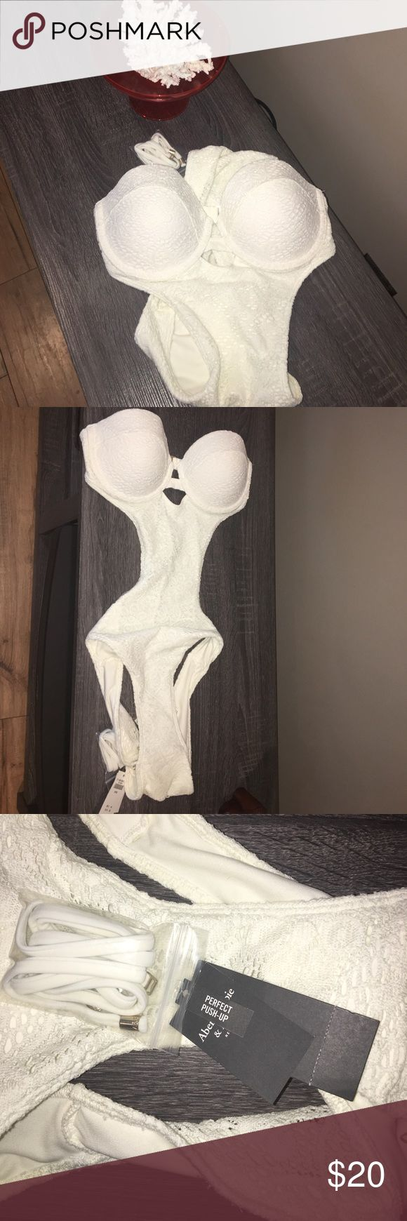 NWT Abercrombie cream one piece! Brand new, wrong size for me size large comes with straps crochet material Swim One Pieces