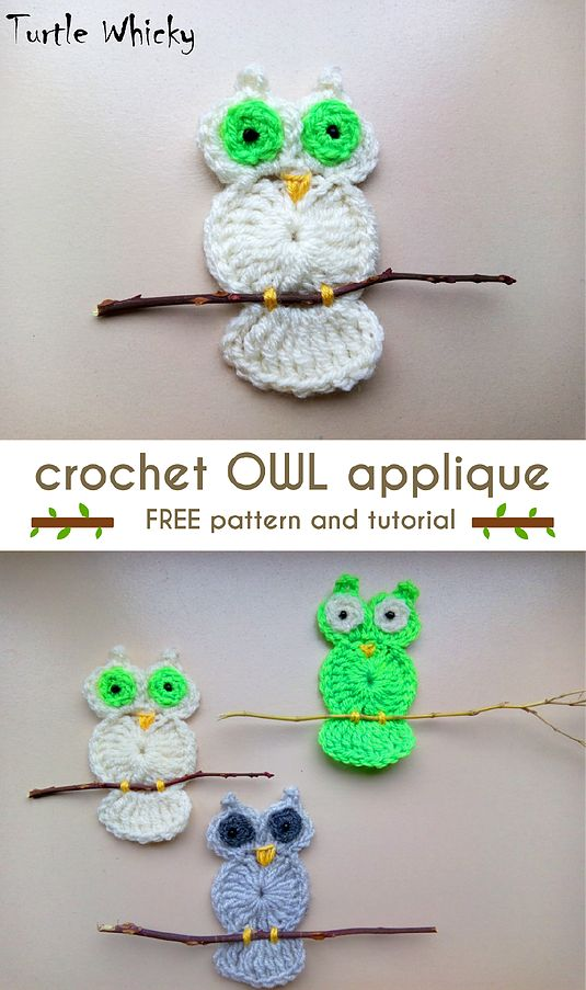 CROCHET OWL APPLIQUE   Turtle Whicky Crochet   Home