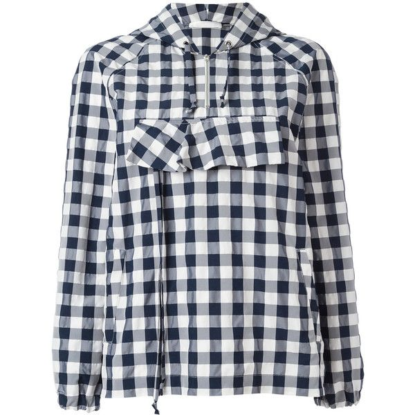 Peter Jensen Gingham anorak jacket (77.350 HUF) via Polyvore featuring outerwear, jackets, blue, gingham jacket, anorak coat, blue anorak jacket, peter jensen and anorak jacket