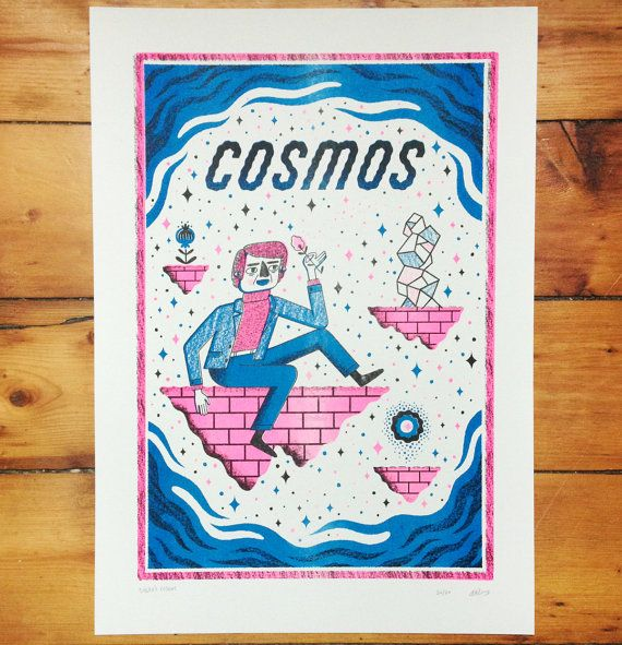 A three-colour limited edition risograph print inspired by the poetic and charming astrophysicist Carl Sagan. Floating on a fragile landmass amongst the