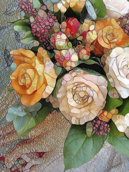 Mosaic of flowers art.  mosaico de flores  Incredible depth!