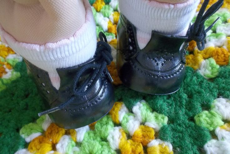 """Cabbage Patch Kid Dolls """"Original Doll Baby"""" High Top Plastic Black Shoes 1984 Fibre Craft by cherlove2 on Etsy"""