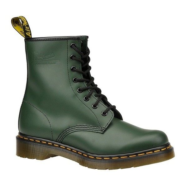 Dr Martens 1460 8-Eye Boot ($125) ❤ liked on Polyvore featuring shoes, boots, chaussures, green, dr martens shoes, green boots, rubber sole boots, rubber sole shoes and dr martens boots