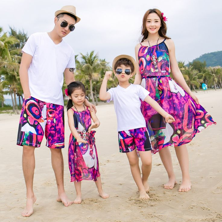 Family Matching Outfits Beach Family Set Mother Daughter Dresses Clothes Father Son Clothing Sets Family Style Clothing 3XL CY9