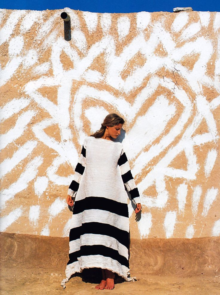 Gilles Bensimon Elle 1993. Clothing Issey Miyake.