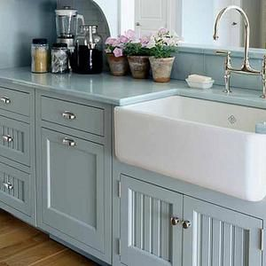 Farm Sink- I really like these type of sinks and the cabinets here too