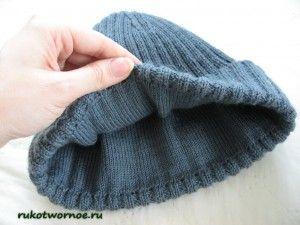 Мужская шапка спицами (мастер-класс)3