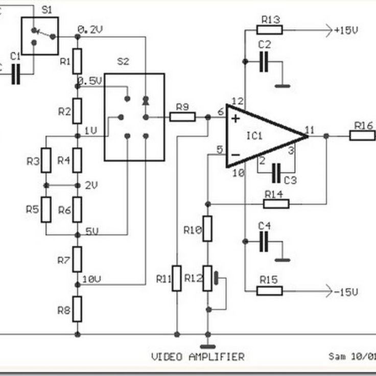 Video Amplifier Simple Circuit Diagram with op-amp