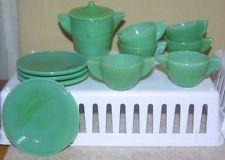 12 Akro Agate Green Concentric ring teaset~Tea Pot,lid,saucers, cups,sugar,crmr