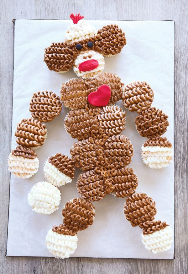 Adorable Cupcakes - Girly Sock Monkey Themed Birthday Party