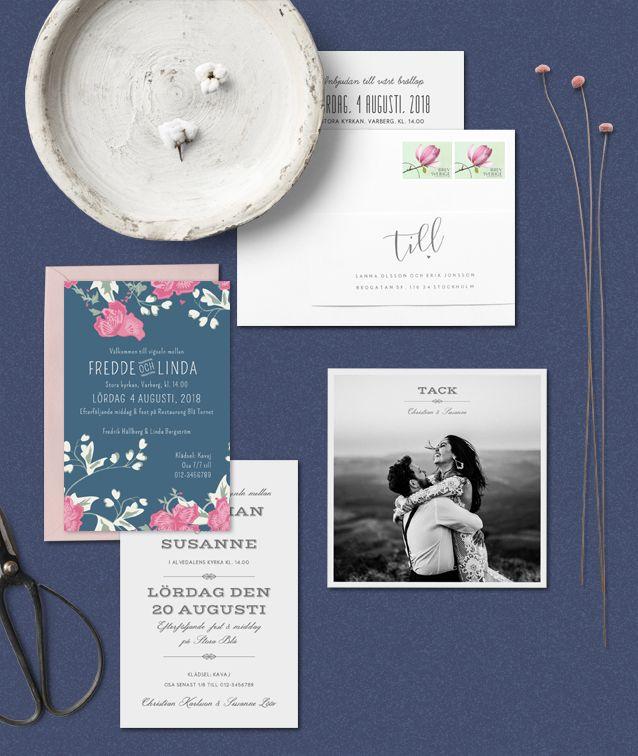 En mix av bröllopskort // Inbjudningskort, tackkort och adresslapp till kuvert.  #bröllopskort #tackkort #inbjudningskort #adresser #kuvert #adresslapp #vintage #garden #foto