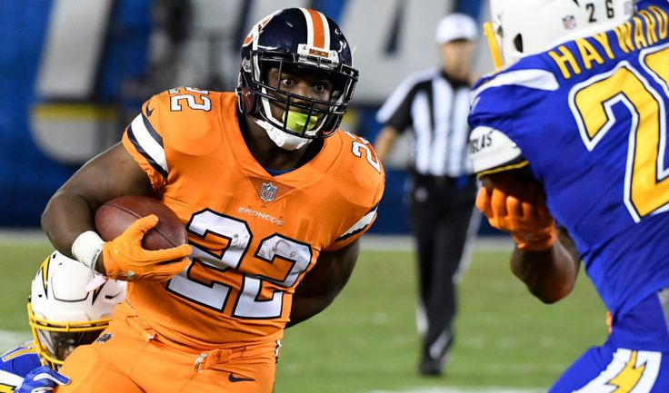 Broncos vs. Chargers:   October 13, 2016  -  21-13, Chargers   -       Denver Broncos running back C.J. Anderson (22) has his eyes on San Diego Chargers cornerback Casey Hayward (26) as he picks up a few yards during the third quarter quarter Oct. 13, 2016 at Qualcomm Stadium. The Broncos lose to the Chargers 21-13.