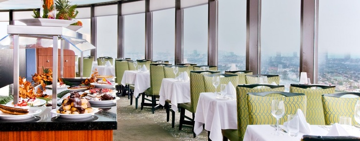 had lunch at L'Astral  revolving restaurant at Loews Hotel  Quebec City, Canada. we stayed in this hotel.