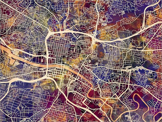 Glasgow Map Scotland Glasgow City Street Map Art Print by artPause