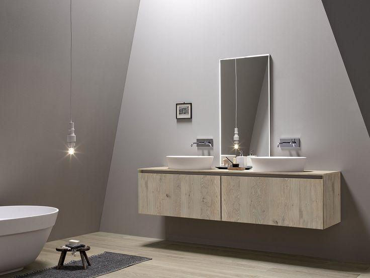 Mueble bajo lavabo suspendido de chapada en madera con espejo 45 COMP.1 Colección 45 by Birex