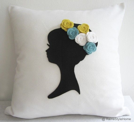 Dreaming Of Spring. Cameo White And Black Pillow by RaineStyleHome