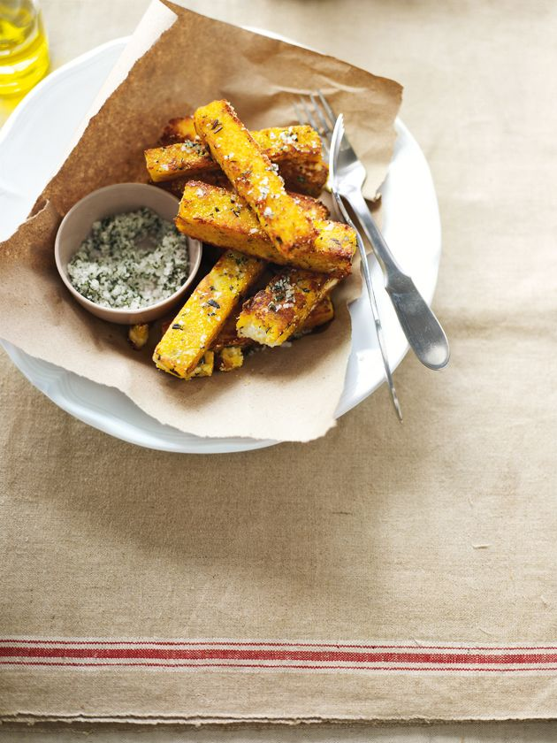 ricotta and polenta chips with sage salt (maybe reduce the salt..)