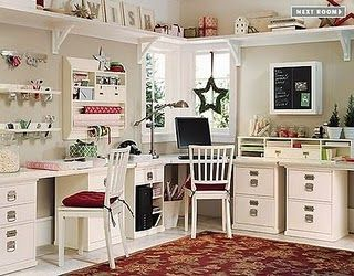 A very pretty scrapbook or craft studio! Love everything about it.  #scrapbooking #craftstudios: Crafts Rooms, Crafts Spaces, Basements Makeovers, Scrapbook Rooms, Rooms Ideas, Sewing Rooms, Home Offices, Pottery Barns, Craft Rooms