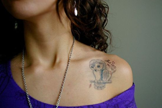 owl collar bone tattoo