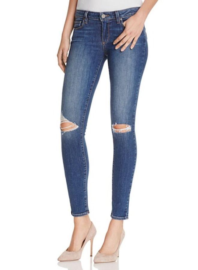 PAIGE Denim Verdugo Ankle Slim Skinny Jeans Pants in Keiran Destructed Blue $229 #Paige #SlimSkinny