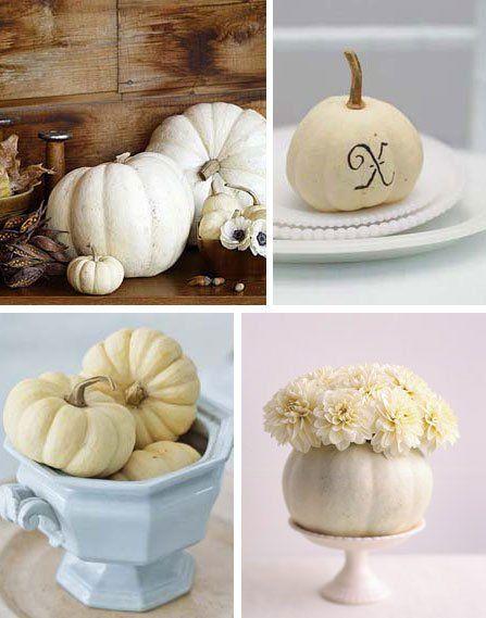 White pumpkins - simple, elegant fall decor to coordinate w/any colour scheme