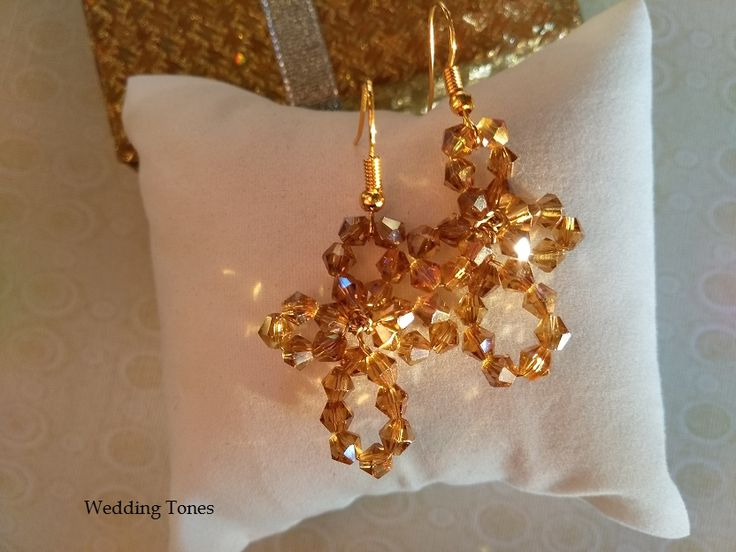 Handmade Cross Crystal Earrings – Wedding Tones