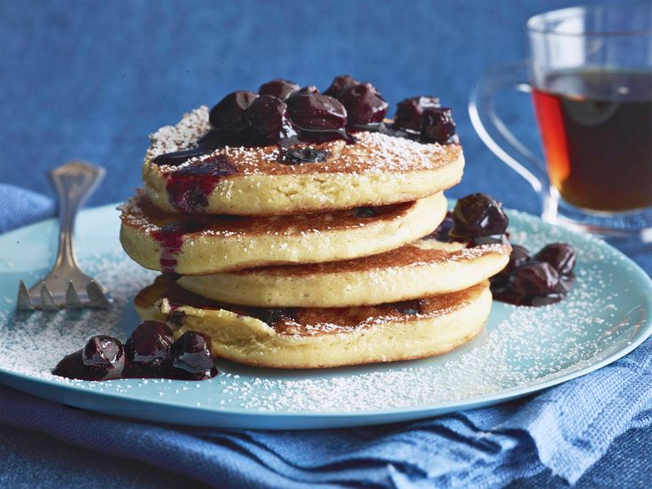 Cake-Mix Blueberry Pancakes Recipe : Food Network Kitchen : Food Network - FoodNetwork.com