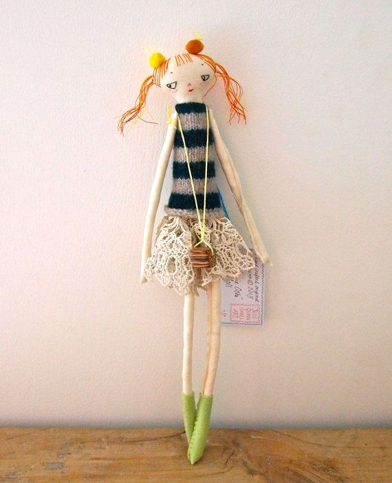 Cloth display doll, embroidered linen Little Oshi doll