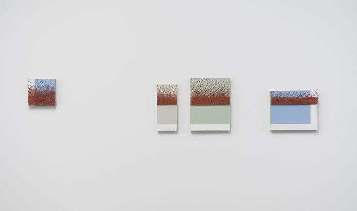 "Marcius Galan, ""Cartografia Abstrata (Segmento de Reta V)"", 2012, Enamel paint on wood and map pins, 75 x 148 cm. Photo credit: Edouard Fraipont (courtesy Galeria Luisa Strina)"