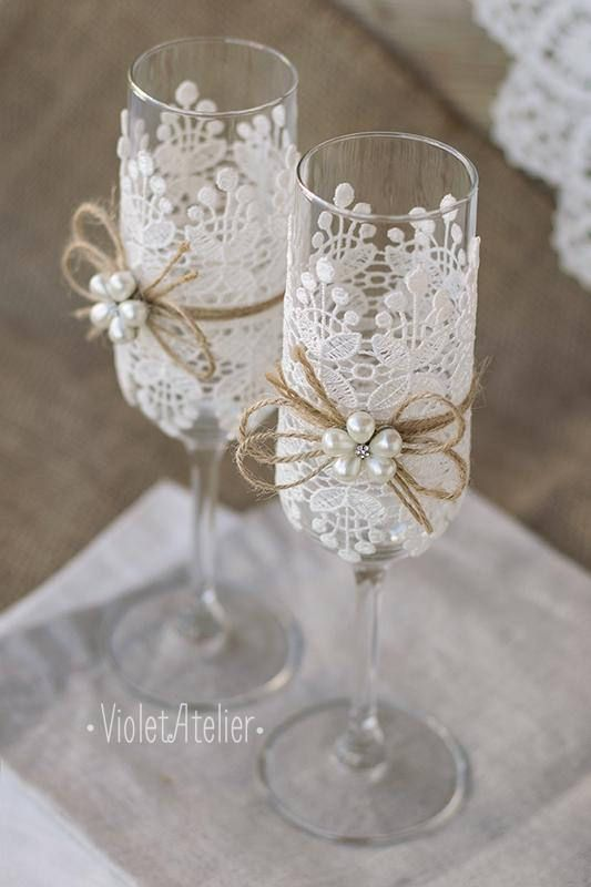 Flûtes grillage dentelle perle fleur verres à Champagne