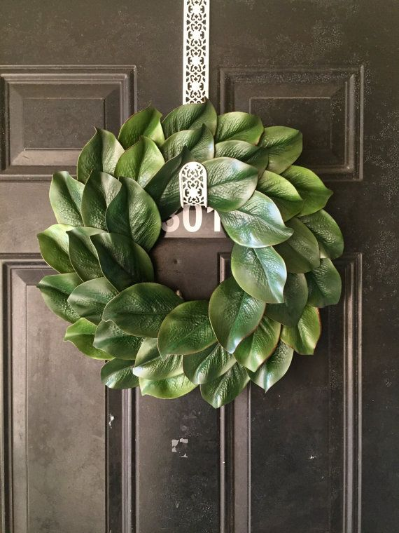 18 faux magnolia wreath Fixer upper style wreath