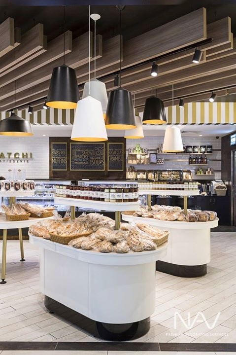 This elegant design by MetaSpace features Navurban Toorak decor installed on the ceiling beams of Satchi Patisseries, Melbourne.