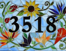 Custom-Made Mosaic House Number Sign