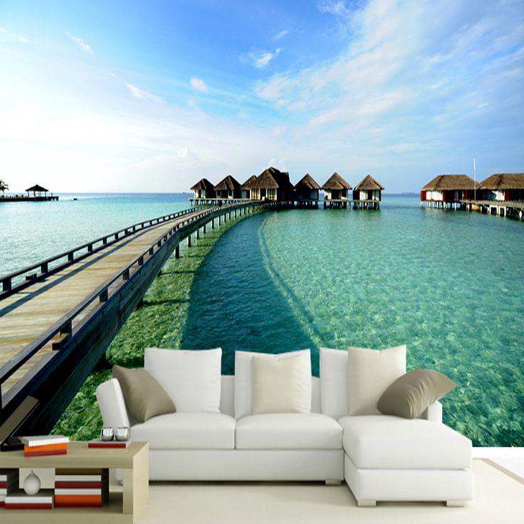 Гостиной диван фон обои спальня 3d Европейские фрески в Мальдивские О Ва воды мост пейзаж нетканые обои 1.5 х 2 м купить на AliExpress