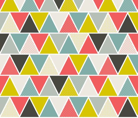 @Nikki Shultz this could be it! ive been looking for something with coral but multi-colored. Ties in the gray plus i love the yellow and green! Triangulum fabric by heatherdutton on Spoonflower - custom fabric
