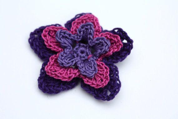 Crochet Embellished Hair Ties : ... Embellishment -Violet, Magenta, Deep Purple Crochet, Crochet flowers