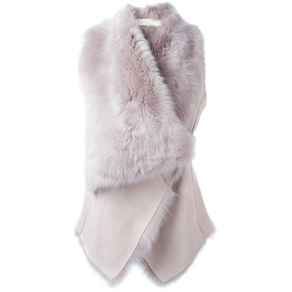 Drome oversized lapels reversible gilet ($1,130) ❤ liked on Polyvore featuring outerwear, vests, jackets, vest, coats & jackets, fur gilet, fur vest, reversible vest, fur waistcoat and vest waistcoat