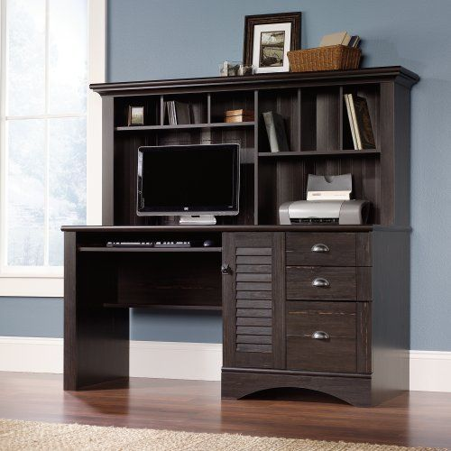 sauder harbor view computer desk with hutch antiqued paint by sauder http
